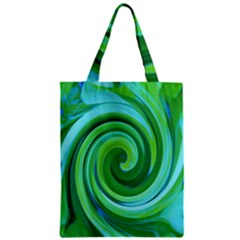 Groovy Abstract Turquoise Liquid Swirl Painting Zipper Classic Tote Bag