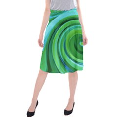Groovy Abstract Turquoise Liquid Swirl Painting Midi Beach Skirt