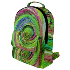 Groovy Abstract Green And Crimson Liquid Swirl Flap Pocket Backpack (small) by myrubiogarden