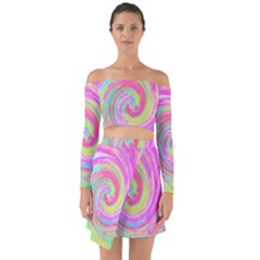 Groovy Abstract Pink And Blue Liquid Swirl Painting Off Shoulder Top With Skirt Set