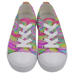 Groovy Abstract Pink And Blue Liquid Swirl Painting Kids  Low Top Canvas Sneakers