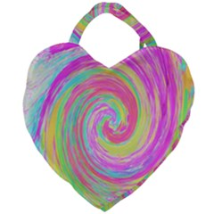 Groovy Abstract Pink And Blue Liquid Swirl Painting Giant Heart Shaped Tote by myrubiogarden