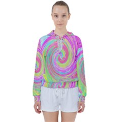 Groovy Abstract Pink And Blue Liquid Swirl Painting Women s Tie Up Sweat by myrubiogarden