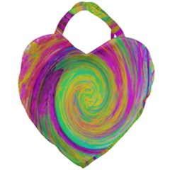 Groovy Abstract Purple And Yellow Liquid Swirl Giant Heart Shaped Tote by myrubiogarden