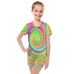 Groovy Abstract Purple And Yellow Liquid Swirl Kids  Mesh Tee And Shorts Set by myrubiogarden