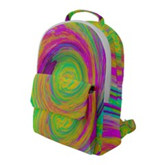 Groovy Abstract Purple And Yellow Liquid Swirl Flap Pocket Backpack (large) by myrubiogarden