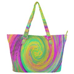 Groovy Abstract Purple And Yellow Liquid Swirl Full Print Shoulder Bag by myrubiogarden