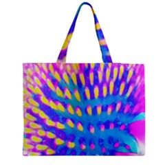 Pink, Blue And Yellow Abstract Coneflower Medium Tote Bag by myrubiogarden
