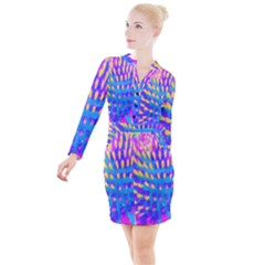 Pink, Blue And Yellow Abstract Coneflower Button Long Sleeve Dress by myrubiogarden
