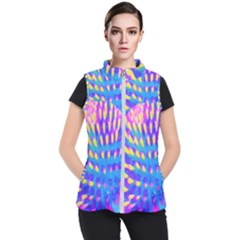 Pink, Blue And Yellow Abstract Coneflower Women s Puffer Vest by myrubiogarden