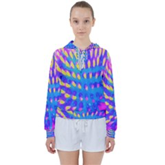 Pink, Blue And Yellow Abstract Coneflower Women s Tie Up Sweat by myrubiogarden
