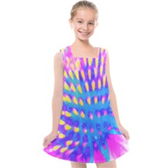 Pink, Blue And Yellow Abstract Coneflower Kids  Cross Back Dress by myrubiogarden