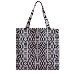 Black And White Intricate Modern Geometric Pattern Zipper Grocery Tote Bag by dflcprintsclothing