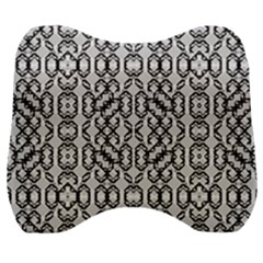 Black And White Intricate Modern Geometric Pattern Velour Head Support Cushion by dflcprintsclothing