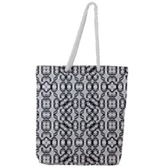 Black And White Intricate Modern Geometric Pattern Full Print Rope Handle Tote (large) by dflcprintsclothing