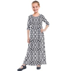 Black And White Intricate Modern Geometric Pattern Kids  Quarter Sleeve Maxi Dress by dflcprintsclothing