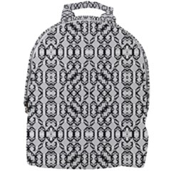 Black And White Intricate Modern Geometric Pattern Mini Full Print Backpack by dflcprintsclothing