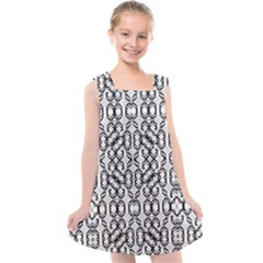 Black And White Intricate Modern Geometric Pattern Kids  Cross Back Dress by dflcprintsclothing