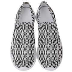 Black And White Intricate Modern Geometric Pattern Men s Slip On Sneakers by dflcprintsclothing