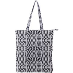 Black And White Intricate Modern Geometric Pattern Double Zip Up Tote Bag by dflcprintsclothing
