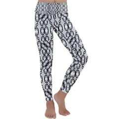 Black And White Intricate Modern Geometric Pattern Kids  Lightweight Velour Classic Yoga Leggings by dflcprintsclothing