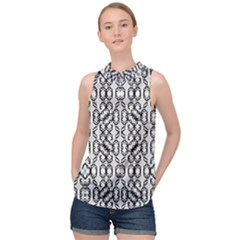 Black And White Intricate Modern Geometric Pattern High Neck Satin Top by dflcprintsclothing