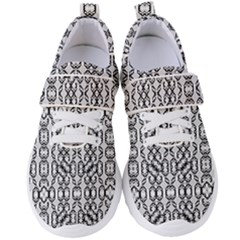 Black And White Intricate Modern Geometric Pattern Women s Velcro Strap Shoes by dflcprintsclothing