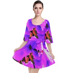 Abstract Ultra Violet Purple Iris On Red And Pink Velour Kimono Dress by myrubiogarden