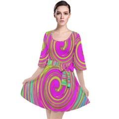 Groovy Abstract Pink, Turquoise And Yellow Swirl Velour Kimono Dress by myrubiogarden