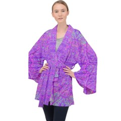 Hot Pink And Purple Abstract Branch Pattern Velvet Kimono Robe by myrubiogarden