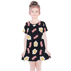 Bacon And Egg Pop Art Pattern Kids  Simple Cotton Dress