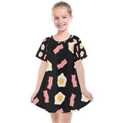 Bacon And Egg Pop Art Pattern Kids  Smock Dress by Valentinaart