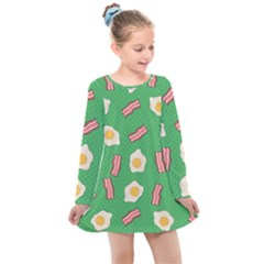 Bacon And Egg Pop Art Pattern Kids  Long Sleeve Dress by Valentinaart