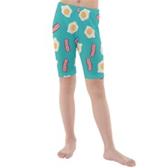 Bacon And Egg Pop Art Pattern Kids  Mid Length Swim Shorts