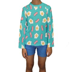 Bacon And Egg Pop Art Pattern Kids  Long Sleeve Swimwear