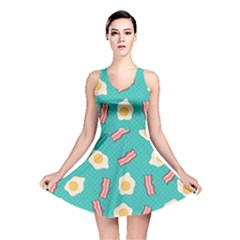 Bacon And Egg Pop Art Pattern Reversible Skater Dress