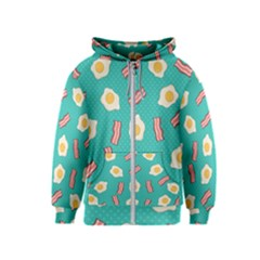 Bacon And Egg Pop Art Pattern Kids  Zipper Hoodie