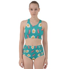 Bacon And Egg Pop Art Pattern Racer Back Bikini Set