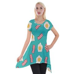 Bacon And Egg Pop Art Pattern Short Sleeve Side Drop Tunic