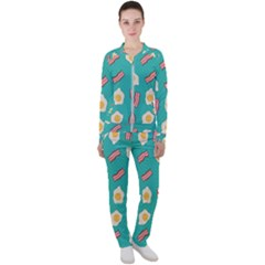 Bacon And Egg Pop Art Pattern Casual Jacket And Pants Set