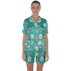 Bacon And Egg Pop Art Pattern Satin Short Sleeve Pyjamas Set