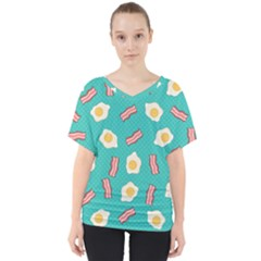 Bacon And Egg Pop Art Pattern V Neck Dolman Drape Top