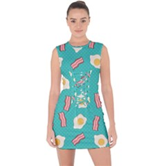 Bacon And Egg Pop Art Pattern Lace Up Front Bodycon Dress