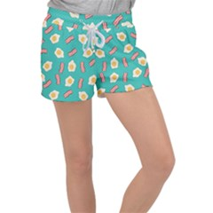 Bacon And Egg Pop Art Pattern Women s Velour Lounge Shorts