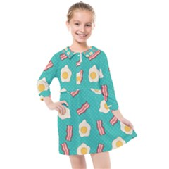 Bacon And Egg Pop Art Pattern Kids  Quarter Sleeve Shirt Dress