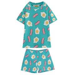 Bacon And Egg Pop Art Pattern Kids  Swim Tee And Shorts Set