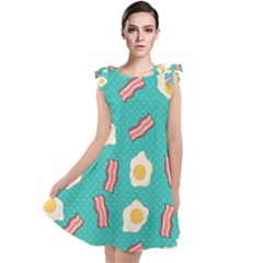 Bacon And Egg Pop Art Pattern Tie Up Tunic Dress by Valentinaart