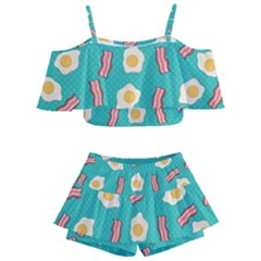 Bacon And Egg Pop Art Pattern Kids  Off Shoulder Skirt Bikini
