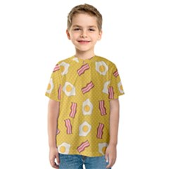 Bacon And Egg Pop Art Pattern Kids  Sport Mesh Tee