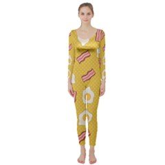 Bacon And Egg Pop Art Pattern Long Sleeve Catsuit